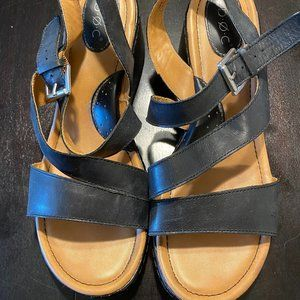 boc Leather Wedge Strappy Sandal